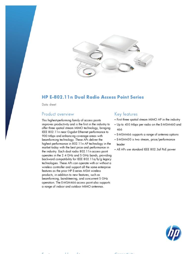 HP E-802.11n Dual Radio Access Point Series | Ieee 802.11 | Wireless