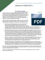 Elevator Pitch zur Enterprise 2.0 Studie 2010