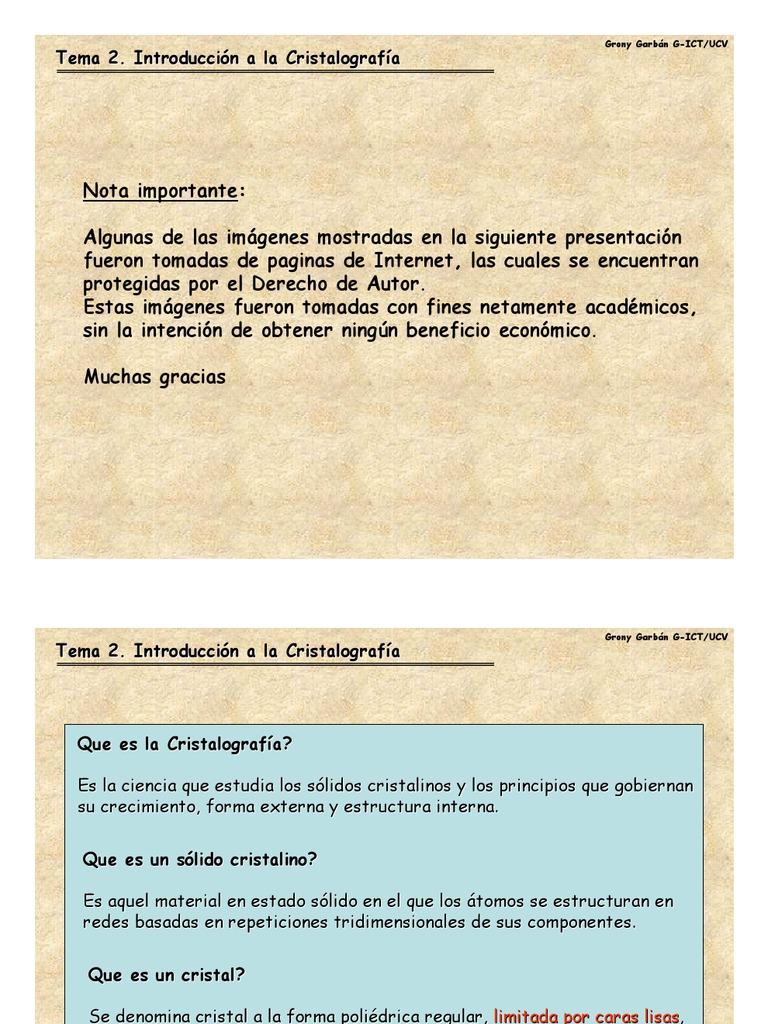Introduccion A La Cristalografiatema 2 0