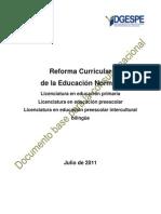 Documento Base Para La Reforma Curricular 2011. (31 de Julio de 2011)