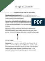 Aplicatiile Legii Lui Arhimede