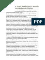 Los Primeros Pasos Para Iniciar Un Negocio en El Marketing de Afiliados 2.0