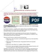 11-11-11 The ongoing Sheriff Joe/Obama's Birth Certificate saga - and legitimacy of the 2012 US Presidential Election