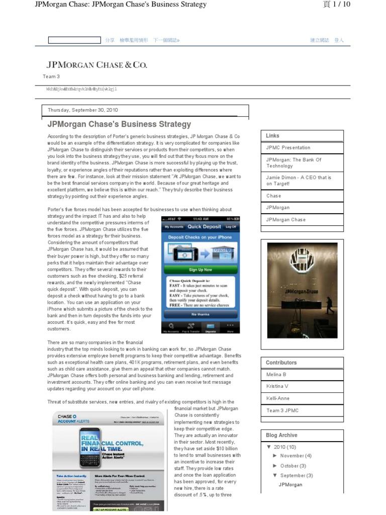 JP Morgan Chases - Business strategy | Chase Bank | Jp Morgan Chase