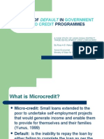 CAUSES OF DEFAULT IN GOVERNMENT MICRO CREDIT PROGRAMMES