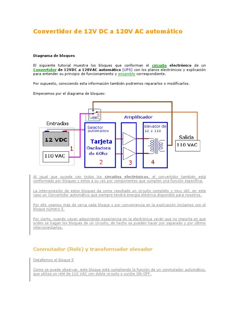 Circuito Ups 12v : Convertidor de v dc a v ac automático