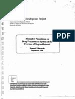 Manual of Procedures on Drug Procurement System of the Province of Negros Oriental for Devolved h