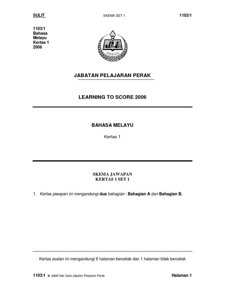Spm Bahasa Melayu Skema Bm Kertas 1 Set 1
