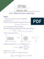 Cálculo 3-A (Mudança de variáveis na integral Dupla)