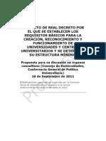 Borrador Real Decreto Gobernanza (Fusión universidades)