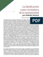 51121500 NATHALIE HEINICH La Falsificacion Como a de La Autenticidad