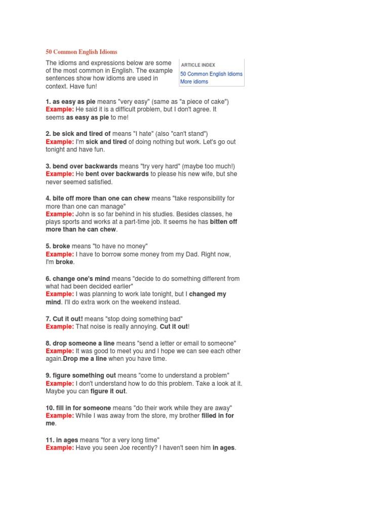 50 Common English Idioms Idiom Leisure