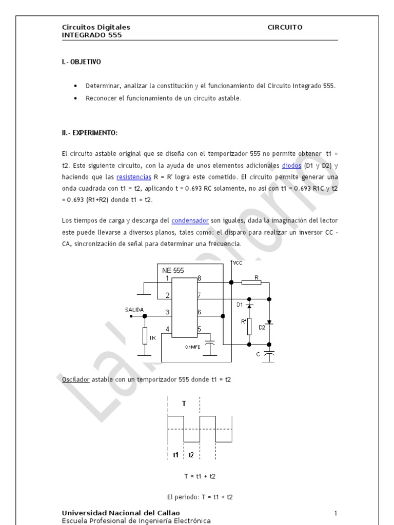 Circuito Astable 555 : Astable