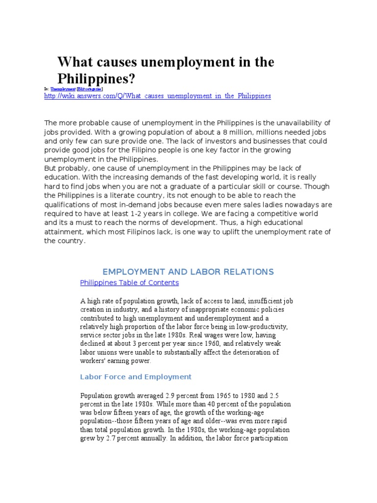 What causes unemployment in the philippines unemployment what causes unemployment in the philippines unemployment poverty homelessness biocorpaavc