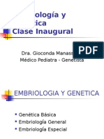 Clase inaugural, resumen Embrio y Genetica