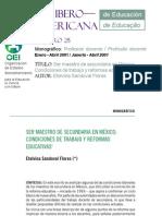 Ser Maestro de Sec Und Aria en Mexico Condiciones de Trabajo y Reformas Educativas