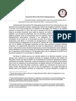 Comunicado oficial de la Comisión Política de la FUPI