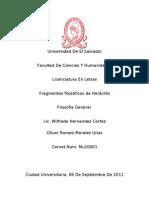 ANALISIS DE FRAGMENTOS DE HERÁCLITO
