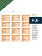 2011 Hindu Calendar Orange Theme