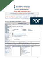 CONCEPT NOTE Application FORM 2011 Children and Violence Evaluation Challenge Fund