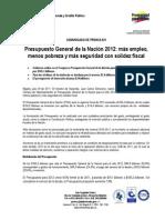 presupuesto colombia 2012