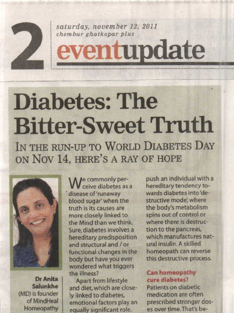 Effective treatment for diabetes in Mindheal Homeopathy