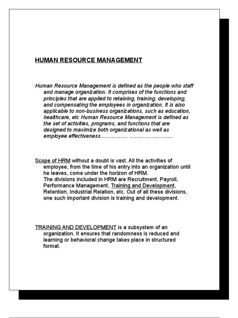 human resource management final project | human resource management