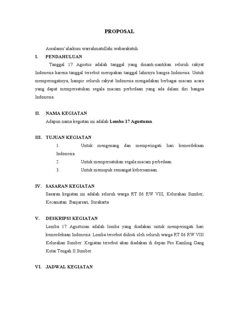 Contoh Proposal 17 Agustus Doc Gambar Ngetrend Dan Viral