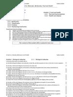 F212 Molecules Biodiversity Food & Health Checklist