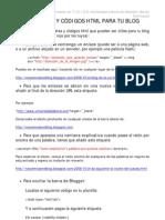HTML, Etiquetas y códigos en Blogger
