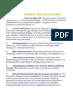 Ten Common Mistakes in Finite Element Analysis