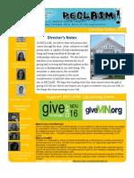 Reclaim Newsletter Winter 2011