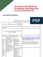 Revue de Presse de Terminale ES Du 4 Au Novembre 2011
