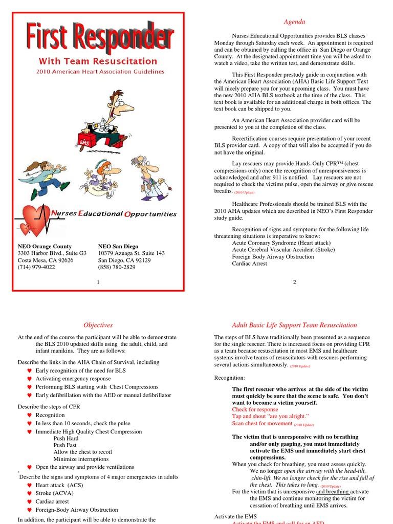2010-BLS-Pre-Study-Final | Cardiopulmonary Resuscitation | Cardiovascular  System