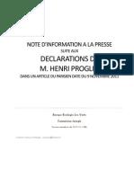 Reponse à M. Proglio - Commission Energie EELV Novembre 2011