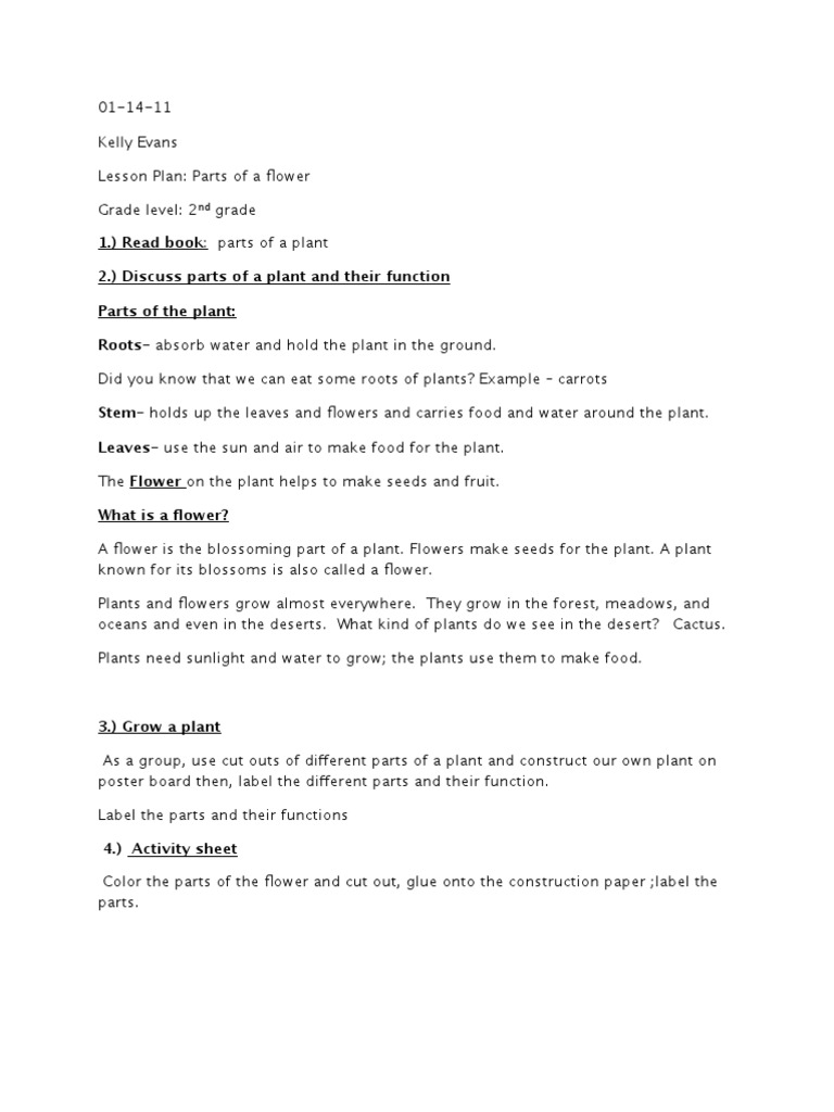 Lesson plan for parts of a plant ibookread ePUb
