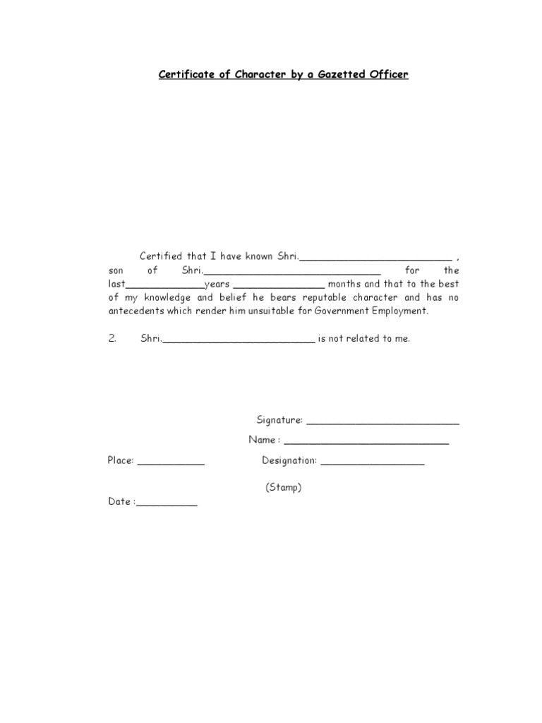 Character certificate by gazetted officer yelopaper Choice Image