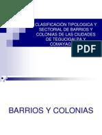CLASIFICACIÓN TIPOLOGICA Y SECTORIAL DE BARRIOS Y COLONIAS