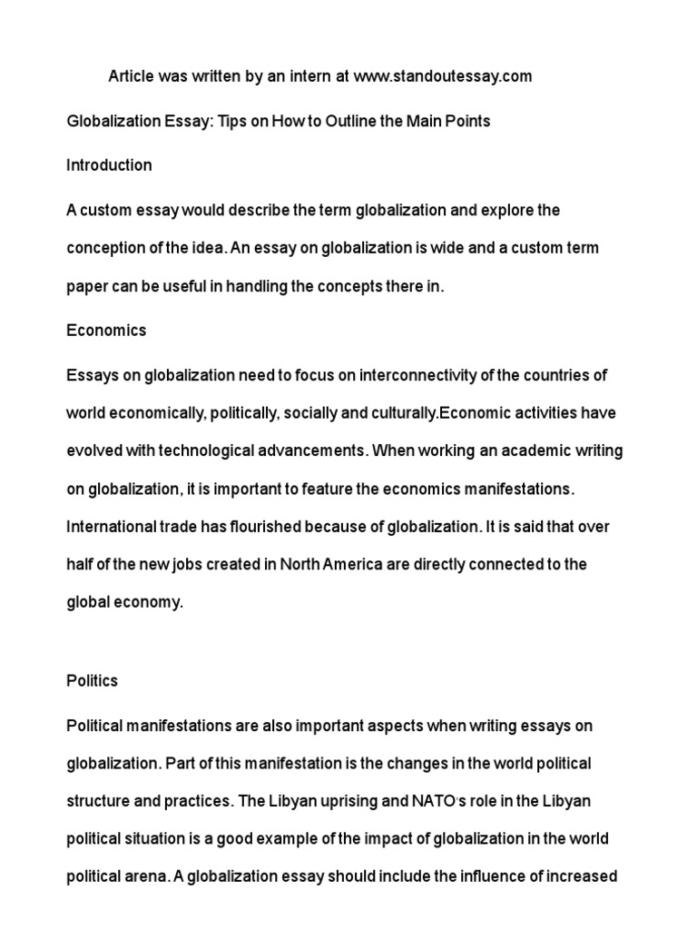 Globalization essay tips on how to outline the main points introduction