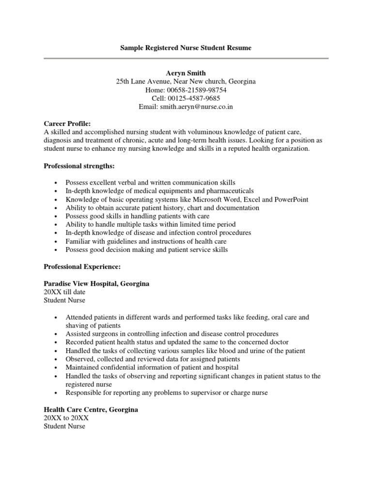 Sample Registered Nurse Student Resume Nursing Patient Free