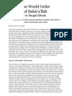 The World Order of Baha'u'llah, by Shoghi Effendi