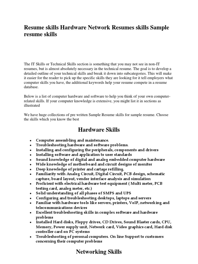 resume for hardware and networking