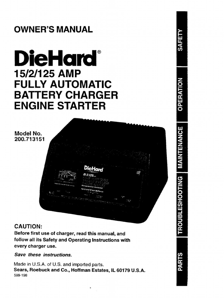 diehard automatic battery charger manual battery charger battery rh scribd com Sears Battery Charger Manual 200.71225 Sears Battery Charger Manual 200.71225