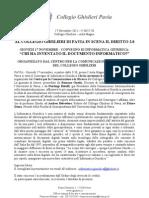 17 NOVEMBRE 2011 - CONVEGNO DI INFORMATICA GIURIDICA PRESSO IL COLLEGIO GHISLIERI DI PAVIA