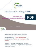 Requirements for strategy of RWM