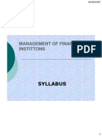Management of Financial Institutions Syllabus 2006-08