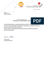Volkszählung Ladinien Landtagsanfrage&Antwort BürgerUnion 11.11