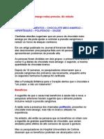 Chocolate Meio-Amargo Reduz Pressão, Diz Estudo - Nutrição - Fitosteróis - Hipertensão