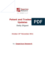 Sagacious Research - Patent & Trademark Updates – 15th November, 2011