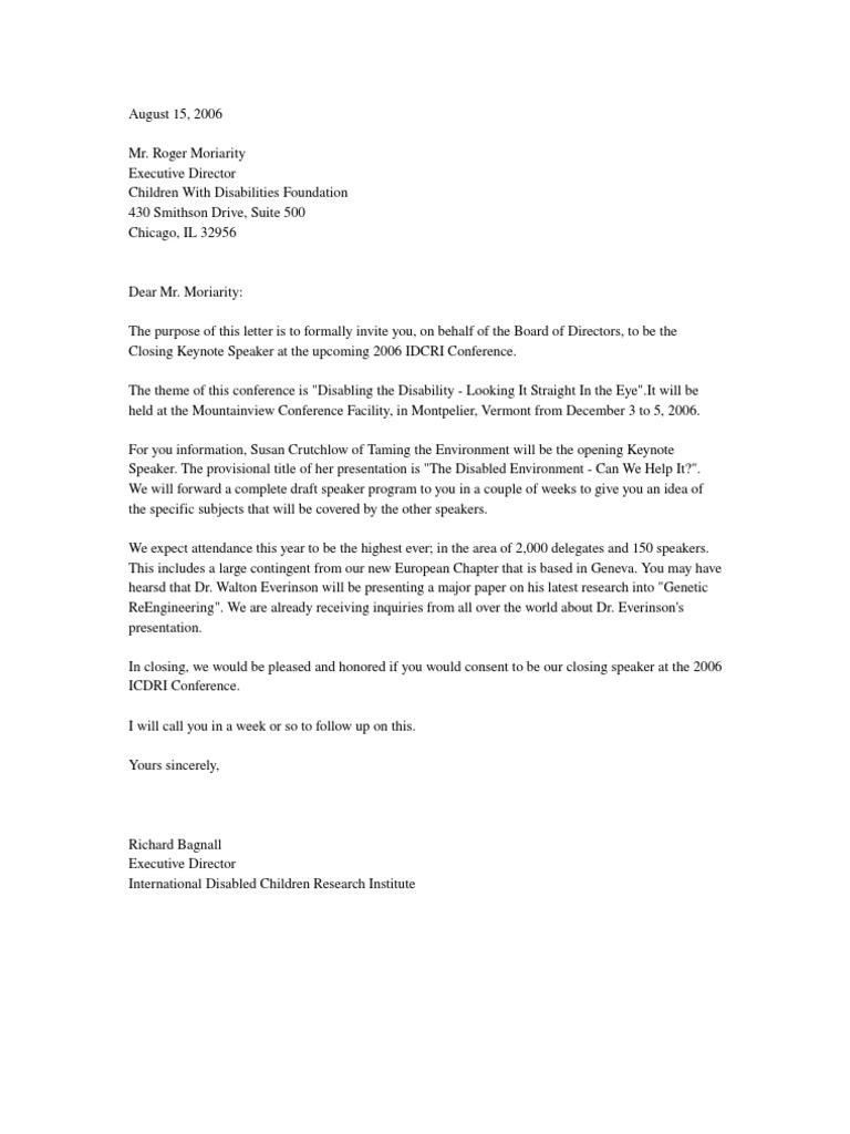 Invitation Letter Invite Conference Speaker Party Invitation Letter